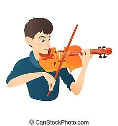 Man plays on violin icon, flat style