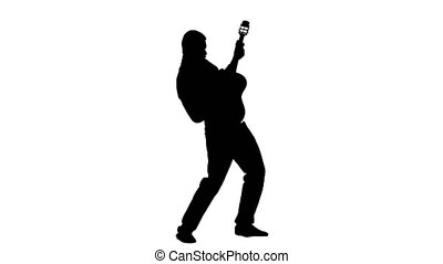 Man plays the lyric song on the guitar and sings....