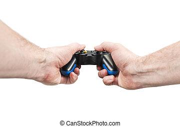 Man plays with a joystick