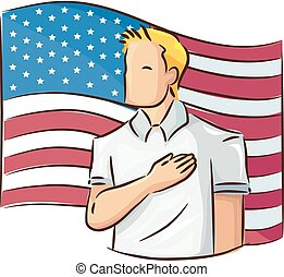 Man Pledge Of Allegiance Flag Illustration - Illustration of...