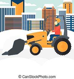 Man plowing snow. - An asian man driving a bulldozer...