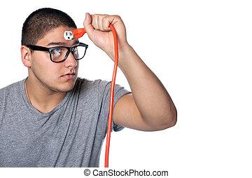 Man Plugging Himself In