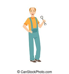 Man Plumber With A Wrench, Part Of Happy People And Their Professions Collection Of Vector Characters
