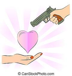 Man pointing a gun at Heart
