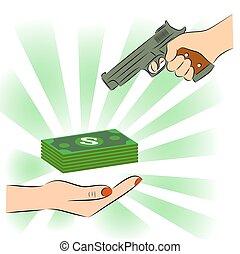 Man pointing a gun at money