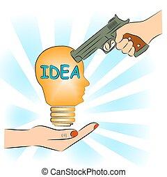 Man pointing a gun at the idea.