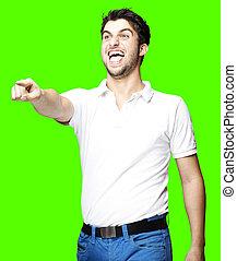 man pointing and joking