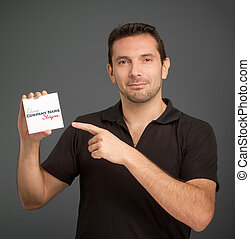 Man pointing at a blank card