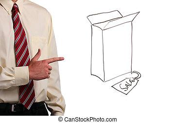 Man pointing at a box