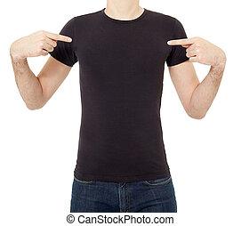 Man pointing at black t-shirt