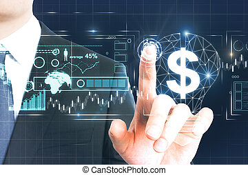 Man pointing at business interface