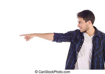 Man pointing at something.