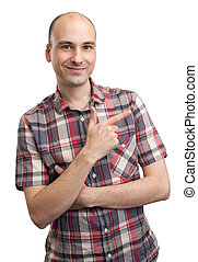 man pointing finger over on white