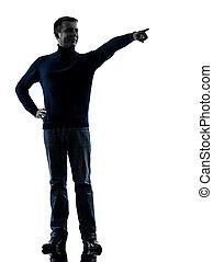 man pointing finger silhouette full length