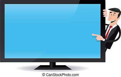 Illustration of a cartoon businessman pointing a flat screen tv, for advertisement message