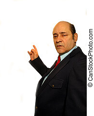 ,Businessman pointing right, over white