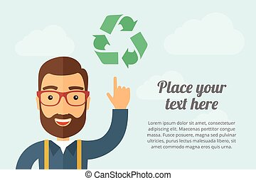 Man pointing the recycle icon