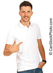 Man pointing to his shirt