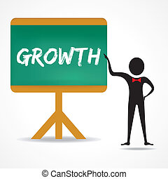 Man points to growth word on board