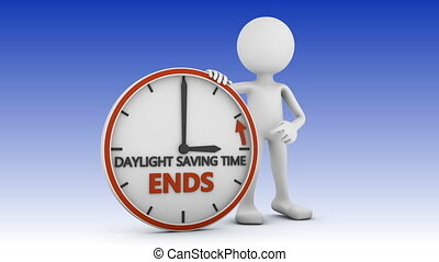 daylight saving time - man points to the time change to...