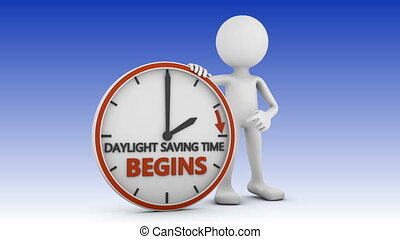 daylight saving time - man points to the time change to ...