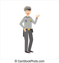 Man Police Officer, Part Of Happy People And Their Professions Collection Of Vector Characters