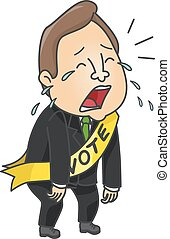 Man Political Candidate Cry - Illustration of a Male...