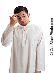 Man pondering or contemplating a decision - Middle eastern...