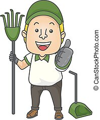 Man Poop Cleaner Job Ok Illustration