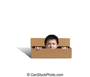 Man pop out his head outside the box with whitebackground