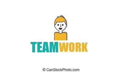 man portrait cartoon team work