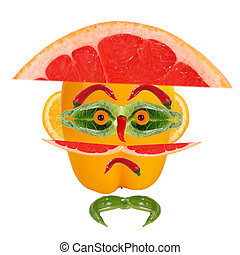 Man portrait in hat made of vegetables and fruits