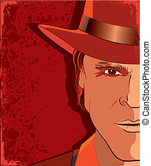 Man portrait in hat on red background - Vector portrair of ...