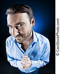 Man Portrait Malicious - caucasian man beg malicious smile ...