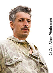 Man portrait - Middle aged man portrait in camuflage.