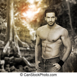 Man - Portrait of a muscular masculine man in outdoor ...