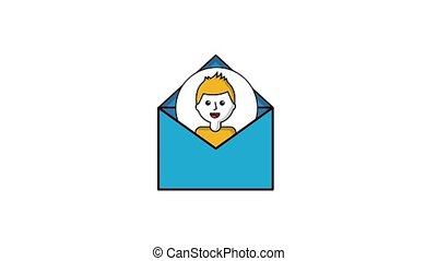 man portrait on email envelope message animation hd