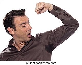 Man Portrait sweat perspiring - man sweating perspiring...