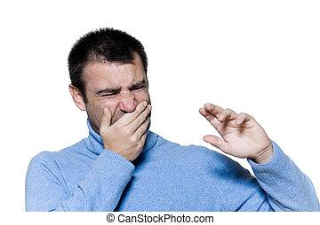 man portrait unpleasant smell stink - studio portrait on...