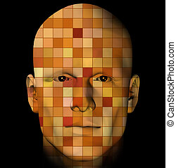 man portrait with colorful squares