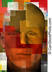 man portrait with squares pattern 3d illustration