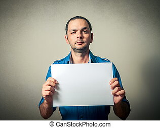 man portrait with the blank paper