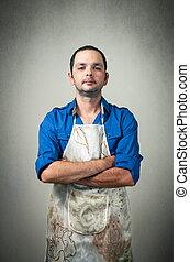 man portrait with the chef uniform
