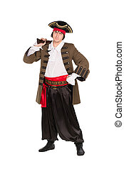 Man posing in pirate costume