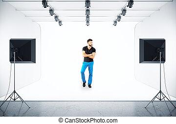 Man posing in studio - Handsome european man posing in photo...
