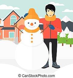 Man posing near snowman.