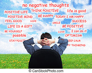 Man positive thinking. - Businessman relaxing and dreaming. ...