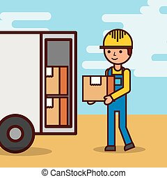 man postal delivery courier man in front of cargo truck delivering package