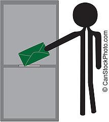 man posting green enveloppe