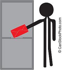 man posting red enveloppe